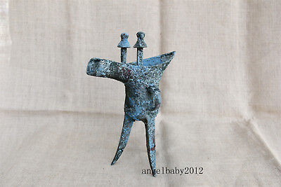 """11"""" Old China antique shangzhou bronze 3 legs WINE CUP glass jue a607"""