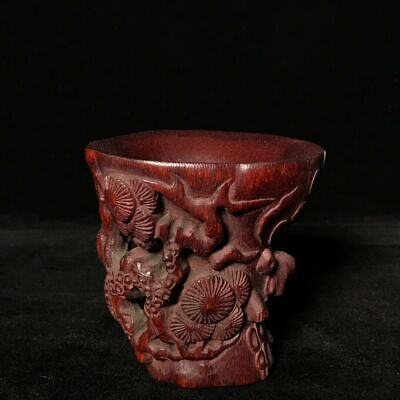 """3"""" qianlong mark China antique Ox horn handcarved pine tree Cup statue f5 a624"""
