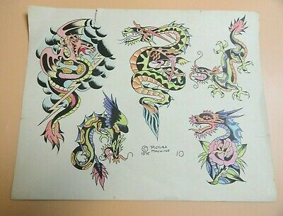 Vintage 1975 RARE PICTURE MACHINE Tattoo Flash Sheet #10 Dragons