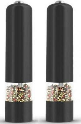 Electronic Salt & Pepper Mill 9'' x 2'' Large Peppers and Salts Mills Black