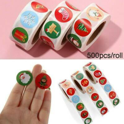 500Pcs/Roll Merry Christmas Stickers Envelope Present Gifts Seal Xmas Label UK