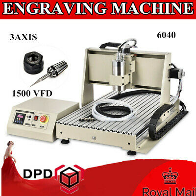 3 Axis 6040 CNC Router Engraver 1.5KW Spindle+VFD 3D Engraving Milling Machine