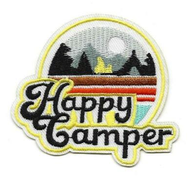 """HAPPY CAMPER IRON ON PATCH 3.25"""" Camping Outdoor Adventure Embroidered Applique"""