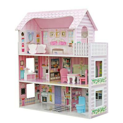 Large Children's Wooden Dollhouse Dollhouse Furniture Kids House Play Pink