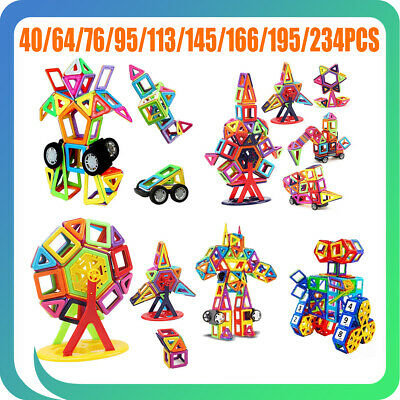 234PCS Magnetic Toy Building Blocks Set 3D Tiles DIY Educational Kids Xmas Gift