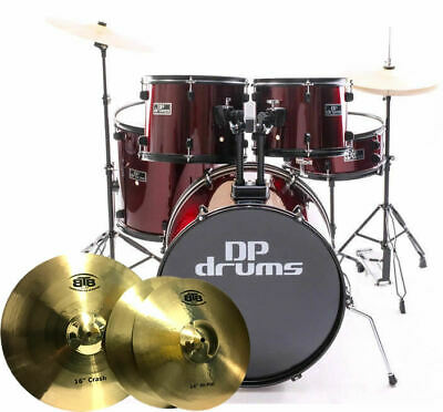 5 Piece Drum Kit Full Size BTB20 14/18 Cymbal Upgrade Stool Wine Red DP Drums