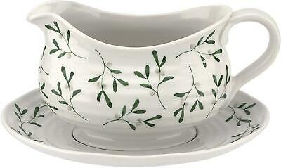Sophie Conran for Portmeirion Mistletoe Design Large Sauce Boat and Plate Stand