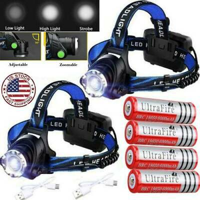 350000Lumen Zoomable T6 LED Headlamp USB Rechargeable Headlight Head 18650 Light