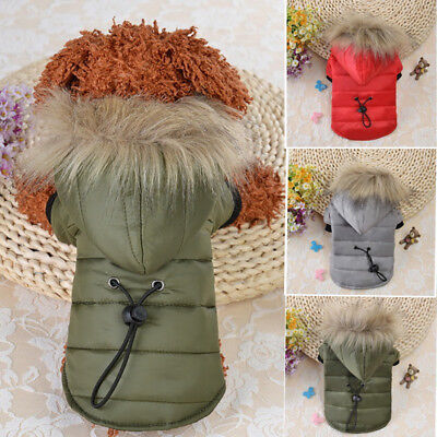 Pet Small Dog Puppy Warm Coat Jacket Hoodie Thick Apparel Outwear Clothes XS-XL