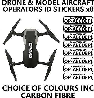 x8 30mm Drone & Model Aircraft Operator Registration id Stickers CAA All Colours
