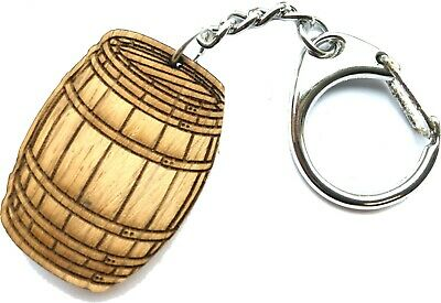 Personalised  Wine Barrel Key Ring Any Initial Publican Velvet Style Gift Bag
