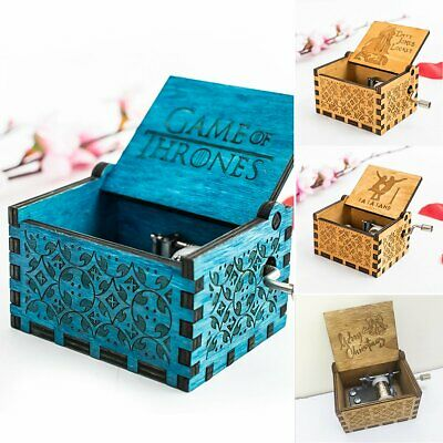 Engraved Wooden Music Box Retro Carved Hand Crank Musical Box Musical Gift Kids