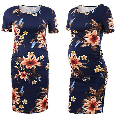 Pregnant Women Short Sleeve Floral Dress Maternity Casual Comfy Tunic Clothes