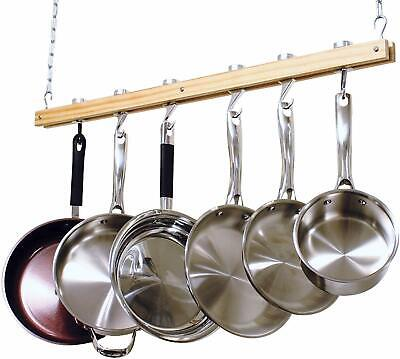 Pot Rack Hanging Kitchen Cookware Organizer Pan Hanger Utensil Hooks Wooden NEW