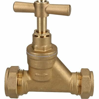 22 x 25mm Poly Stop Cock Mains Shut-Off Copper MDPE Burst Pipe Compression