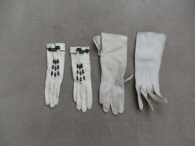 2 Pairs of Art Deco white kid leather gloves 1 pair black Deco geometric detail