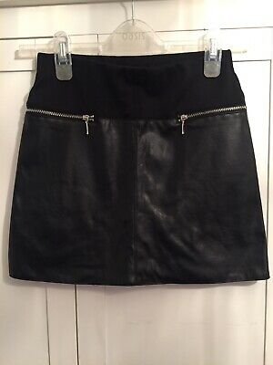 Girls River Island Leather Look Black Skirt Age 10