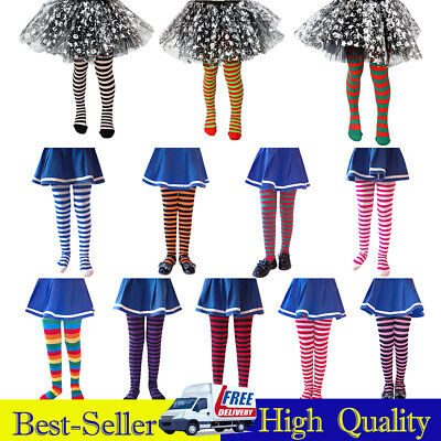 ✅Children Girls Tights High Stocking Striped Long Socks Cosplay Party Christmas✅