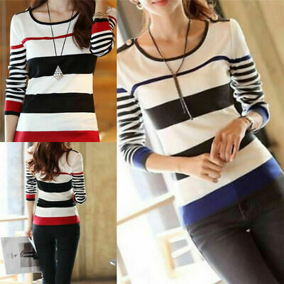 Women Striped Fashion T-shirts Sleeve Tees Slim Shirt Blouse Long Tops Pullover