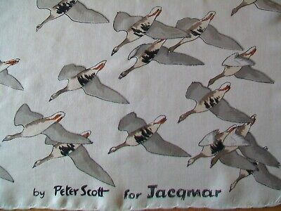 Jacqmar. Wild Wings Geese In Flight Design. Sir Peter Scott Vintage Silk Scarf