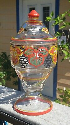Antique Art Deco Bohemian Czech Hand Painted & Enameled Glass Apothecary Jar