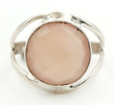 Faceted Rose Quartz 925 Solid Sterling Silver Ring Jewelry Sz 9, D23-4