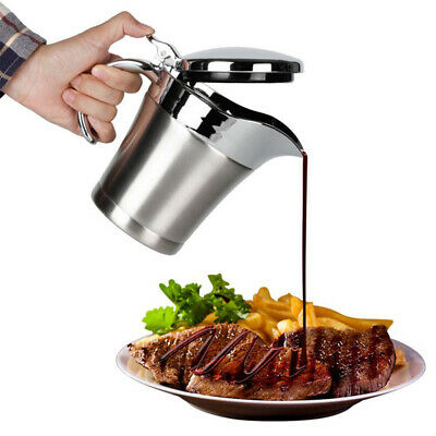 EE_ 450/750ml Double Insulated Stainless Steel Sauce Jug Gravy Boat Kitchen Serv