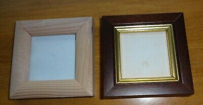 2 UNUSED WOODEN SMALL PICTURE/CRAFT FRAMES - 4 cm SQUARE