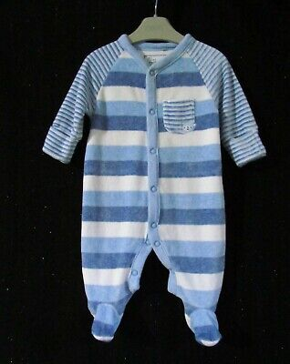 NEXT  Baby Boys Blue Stripe Velour Warm  Romper Playsuit Outfit age 1 mth
