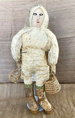 Antique Native American Indian Alaskan Inuit Doll Real Fish Leather Hands 13""