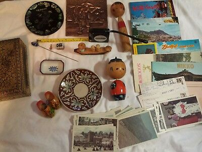 Antique handmade signed wood, silver, pottery souvenirs,post cards travel