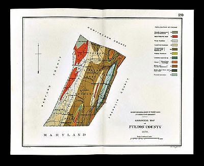 1878 Geological Map - Fulton County Pennsylvania - by Lesley Geology Survey PA