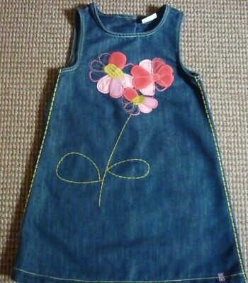 Next Girls Denim Pinafore Dress age 5-6yrs with Applique Flowers