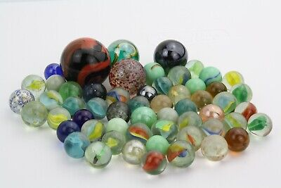 Lot of 58 Marbles, Variety of Sizes, Types and Colors