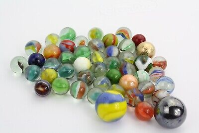 Lot of 49 marbles, Varied sizes and Types