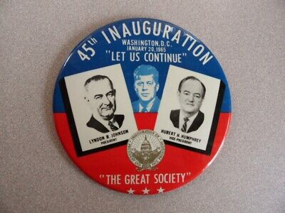 ">orig. 1965 45th INAUGURATION Huge 6"" Easel Back Pin LBJ, Humphrey & late JFK"