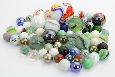 Lot of 62 marbles, Varied sizes and Types