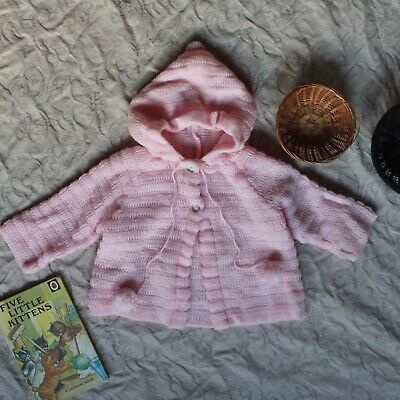 60s Pixie Hooded 6-12-18M VTG Knitted Pom Pom Cardigan Baby Sweater Retro Jumper