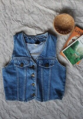 Kids 8-10Y Denim Waistcoat Western Prairie Vest 100% Cotton Boho Gypsy Sleeveles