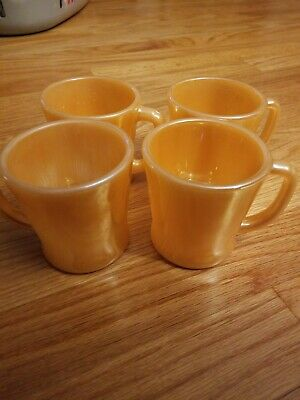 Set of 4 **FIRE KING** Peach Luster Child's Kids Mini Mugs Cups Tea Coffee Ware