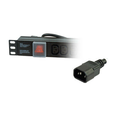 NEW! Lms Data 1U 12-Way Iec-13 Sockets Horizontal Pdu With 10A Iec-14 Plug Black