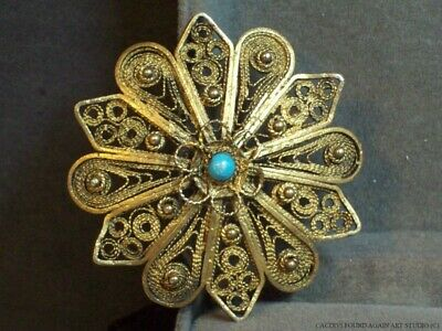 Sterling Silver Filigree Flower Pin Gold Wash Floral Handmade Pendant Brooch Vtg