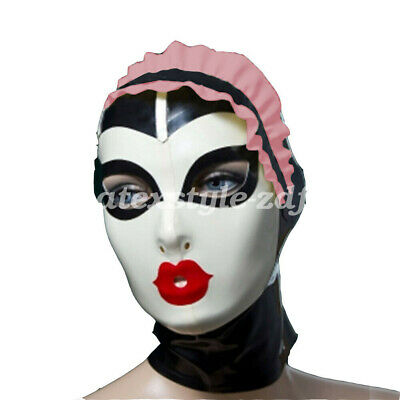 100% Latex Maske Rubber Mysterious Rosa Ruffle Cosplay Maid Mask 0.4mm S-XXL