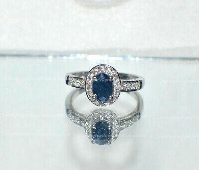Solid 14k White Gold Over 1.25 Ct Oval Cut Blue Sapphire Halo Engagement Ring