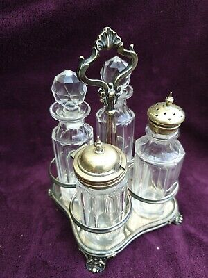 Antique Silver Plated and Glass Condiment Set