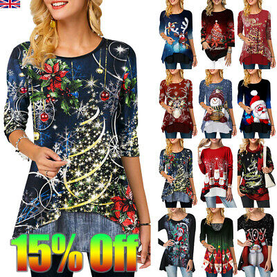 Womens Christmas Tops Printed Ladies Xmas Party Tunic Blouse Shirt Pullover Tee
