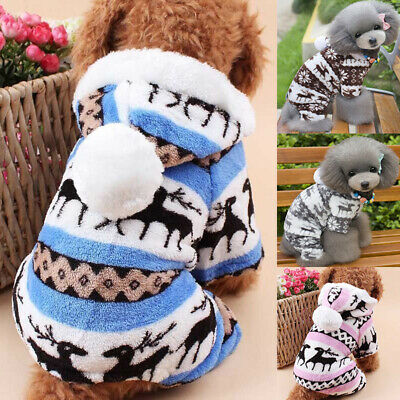 Puppy Dog Winter Jumpsuit Clothes Fleece Cute Pet Jumpers Hoodie Coat Christmas