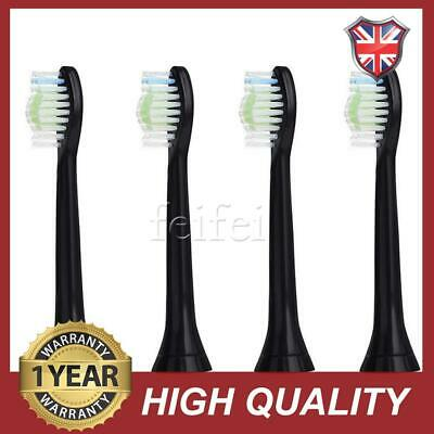 4x Sonicare Diamond Clean BLACK Toothbrush Heads For Philips HX6064/33 Phillips
