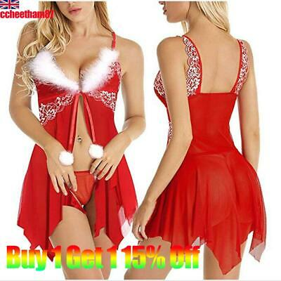Christmas Women Sexy Lace Mesh Lingerie Ladies Bobydoll Nightwear Sleepwear Red