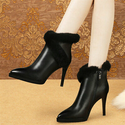 Women's Cow Leather High Heel Ankle Boots Ladies Wedding Shoes Pointed Toe Pumps